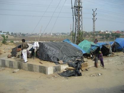Poor people's tent houses